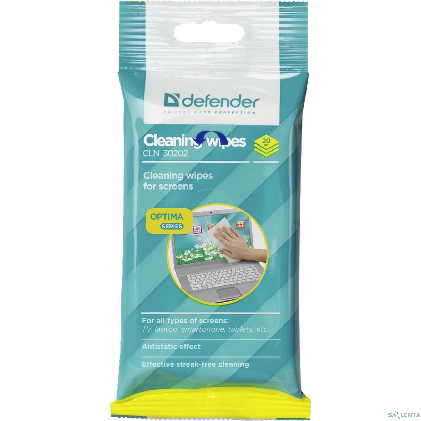 DEFENDER CLN 30202 Салфетки для экрана, в мяг. уп, 20шт.