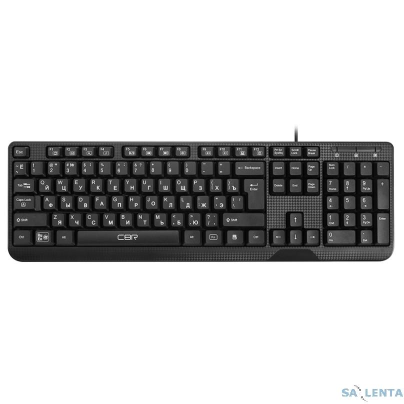 CBR KB 103 Black USB, Клавиатура, перекл. языка 1 кнопкой (софт.), 12 доп. мультимедия ф-ций