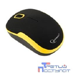 Gembird MUSW-200 Black-Yellow USB {Мышь беспроводная, soft touch, 2кн.+колесо-кнопка, 2.4ГГц }