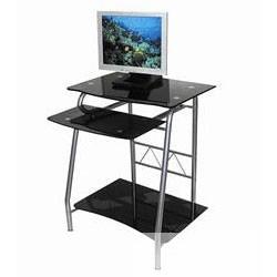 Бюрократ GD-005/<wbr>Black. Стол для  компьютера, черное закаленное стекло, выдвижная полка под клавиатуру, полка под системный блок, размер 60см (ш)  x 50см (д) x 76 см (в)