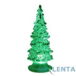 ORIENT 342 Новогодняя «Елка «Волшебная» , прозрачный пластик с зелеными блестками, многоцветная подсветка, высота 15 см, питание от встроенных батареек