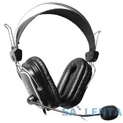 A4Tech HS-50,Черный, серебристый {Гарнитура  стерео, монитор типа, закрытые, рег громкости, 20-20000Гц 32 Ом 97дБ, микр подвижн,  кабель 2, 3.5 jack 3 pin}