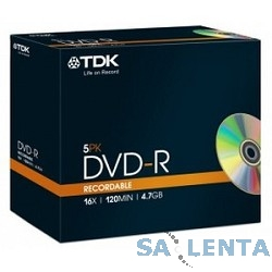 TDK Диск DVD-R  4.7Gb 16x  Jewel Case (5шт) (t19410)