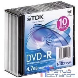 TDK Диски DVD-R 4,7 GB 16x (Slim Case, 10 шт) (t19420)
