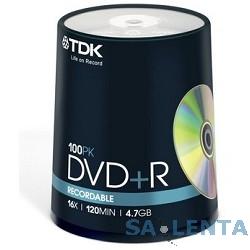 TDK Диск  DVD+R 4.7Gb 16x Cake Box (100шт), DVD+R47CBED100, (t19504)