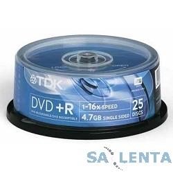 TDK Диск  DVD+R 4.7Gb 16x Cake Box (25шт)  DVD+R47CBED25,  (t19443)