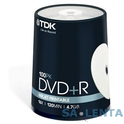 TDK Диск  DVD+R 4.7Gb 16x Cake Box Printable (100шт)  DVD+R47PWWCBED100,  (t19920)
