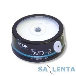 TDK Диск  DVD+R 4.7Gb 16x Cake Box Printable (25шт) (t19845)