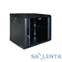 Hyperline TWFS-1266-GP-RAL9004 Шкаф настенный 19-дюймовый (19″), 12U, 650х600х600, стеклянная дверью с перфорацией по бокам, ручка с замком, цвет черный (RAL 9004) (2 места разобранный)