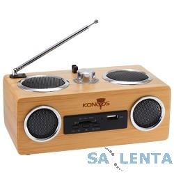 Акустическая система Konoos KBS-01,  2х 3Вт (RMS), натуральный бамбук, FM-радио, считыватель SD, USB- карт, встр. MP3 плеер, встр. аккумулято