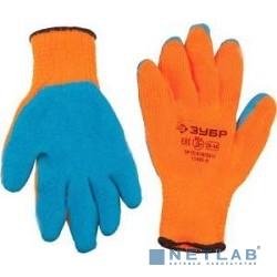 Перчатки ЗУБР ''ЭКСПЕРТ'' утепленные, акриловые, с рельефным латексным покрытием, 10 класс, сигнальный цвет, S-M