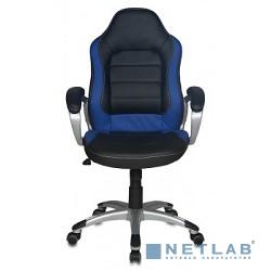 Бюрократ CH-825S/BLACK+BL (Кресло руководителя, черный синий искусственная кожа (пластик серебро)