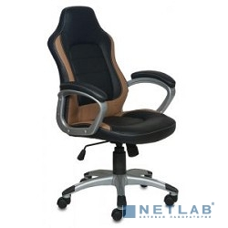 Бюрократ CH-825S/BLACK+BG  (Кресло руководителя  , черный бежевый искусственная кожа (пластик серебро)