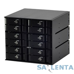 Procase L2-312-SATA3-BK { Корзина L2-312SATA3, 12 SATA3/SAS HDD, черный, с замком, hotswap mobie rack module for 2,5″ HDD(3×5,25) FAN 80x15mm}