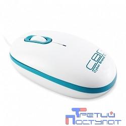 CBR CM-180 Blue бело-голубая  USB, Мышь 1000dpi, офисн., провод 1,3м