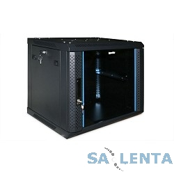 Hyperline TWFS-1545-GP-RAL9004 Шкаф настенный 19-дюймовый (19″), 15U, 775 x 600 х 450мм, стеклянная дверь с перфорацией по бокам, ручка с замком, цвет черный (RAL 9004) (2 места разобранный)