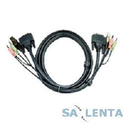 ATEN 2L-7D05U Шнур, мон+клав+мышь USB +аудио, DVI-D Single Link+USB A-Тип + 2 x mini Jack(3,5мм)=>DVI-D Digital+USB B-Тип + 2x miniJack(3,5мм), Male-Male, опрессованный, 5 метр., черный