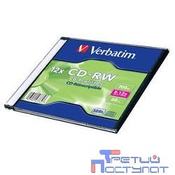 Verbatim  Диск CD-RW  700Mb 8-12x Slim case (20шт) (43762)