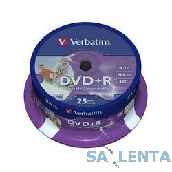 Verbatim  Диск DVD+R  4.7Gb 16x Cake Box Printable (25шт) (43539)