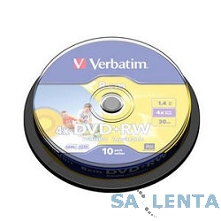 Verbatim Диск DVD+RW  1.46Gb 4x 8cm Cake Box Photo Printable (10шт) (43641)