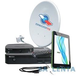 Комплект спутникового телевидения Триколор GS E501 + GS C591 + планшет «Европа» (комплект на 2 ТВ) черный
