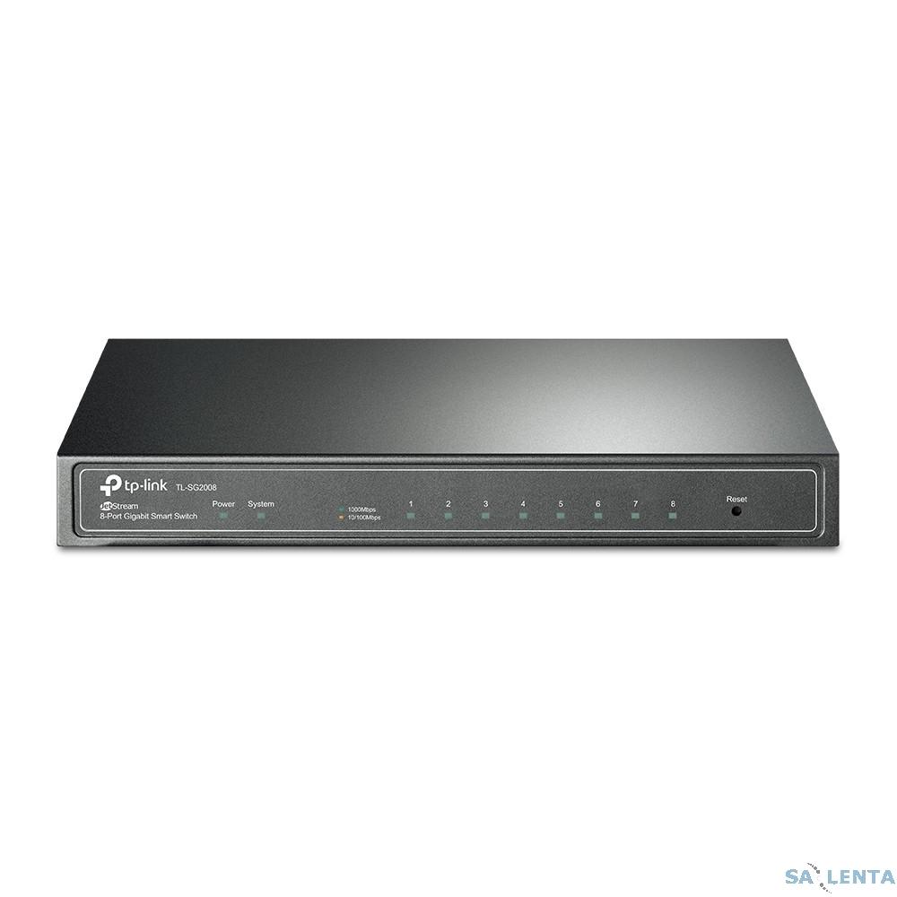 TP-Link TL-SG2008 8-port Pure-Gigabit Desktop Smart Switch, 8 10/100/1000Mbps RJ45 ports, Tag-based VLAN, STP/RSTP/MSTP, IGMP V1/V2/V3 Snooping, DHCP Filtering, 802.1P Qos, Rate Limiting, Voice VLAN,