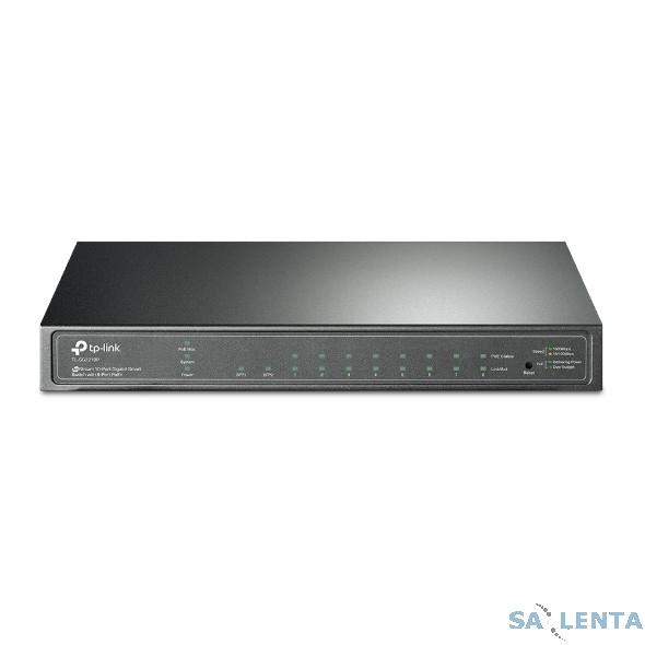 TP-Link TL-SG2210P 8-Port Gigabit Desktop PoE Smart Switch, 8 Gigabit RJ45 ports including 2 SFP ports, 802.3af, 53W PoE power supply, Tag-based VLAN, STP/RSTP/MSTP, IGMP V1/V2/V3 Snooping, 802.1P Qos