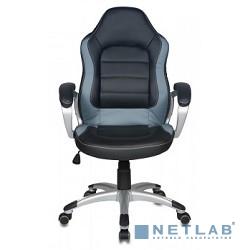 Бюрократ CH-825S/BLACK+Gr (Кресло руководителя, черный серый искусственная кожа (пластик серебро)