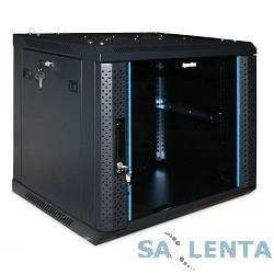 Hyperline TWFS-0445-GP-RAL9004 Шкаф настенный 19-дюймовый (19″), 4U, 278 x 600 х 450мм, стеклянная дверь с перфорацией по бокам, ручка с замком, цвет черный (RAL 9004) (2 места разобранный)
