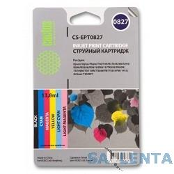 Cactus EPT0827 Картридж струйный Cactus CS-EPT0827 многоцветный для Epson Stylus Photo R270/290/RX590 Комплект цветных картриджей 6 шт