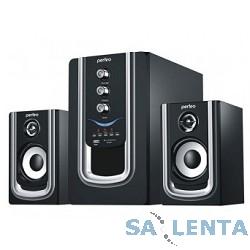 Perfeo колонки 2.1 «Rivera» PF-102 {FM-тюнер, USB/SD, ПДУ, 20Вт+5х2Вт, чёрн-серебр}