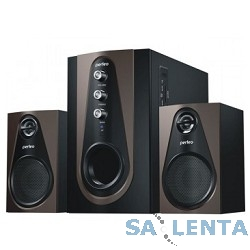 Perfeo «Scenic» PF-103-BT, чёрно-коричневый {BLUETOOTH, FM-тюнер, USB/SD, ПДУ, 20Вт+5х2Вт}