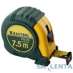 Рулетка KRAFTOOL «EXPERT» с нейлоновым покрытием, обрезин корпус, 9/25мм [34122-09_z01]