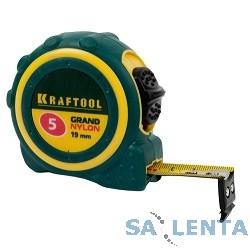Рулетка KRAFTOOL «PRO» «MG-Kraft», особопроч корпус, Mg сплав, нейлон покрытие, суперкомпакт размер, 5м/19м [34129-05-19]