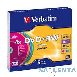 Verbatim  Диски DVD+RW  4х, 4.7Gb (COLOUR, Slim Case, 5 шт.) (43297)