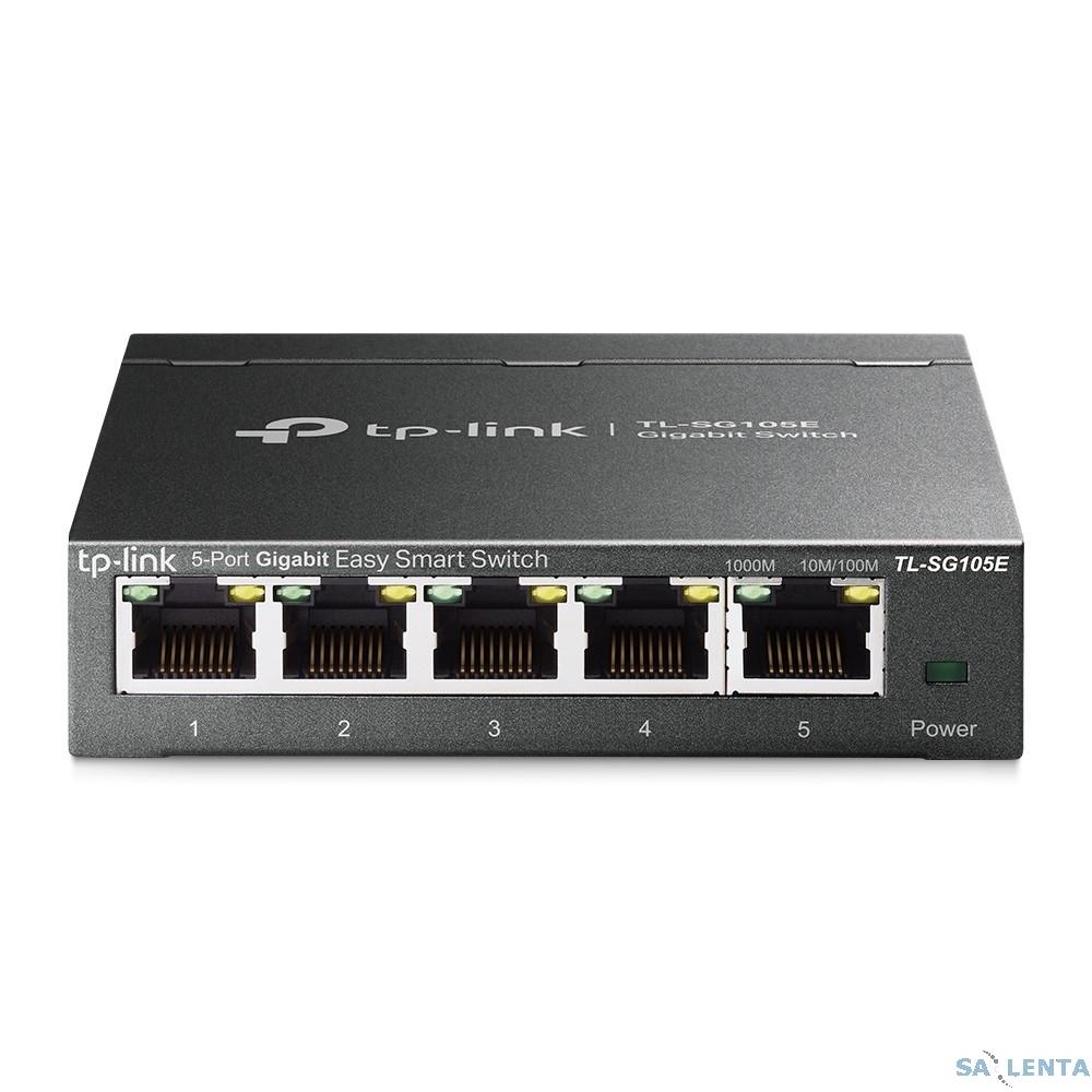 TP-Link TL-SG105E v2.0/3.0 5-Port Gigabit Desktop Easy Smart Switch, 5 10/100/1000Mbps RJ45 ports, MTU/Port/Tag-based VLAN, QoS, IGMP Snooping