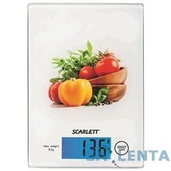Весы кухонные электронные Scarlett SC-1217, белый/овощной микс
