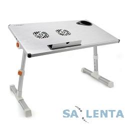 CROWN  Столик для ноутбука CMLS-101 (silver) ( 17″, активное охлаждение, алюминий, регулировка высота и наклона, размеры панели (Д*Ш): 50*28см, максимальная высота:  до 32см)
