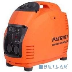 Генератор инверторный PATRIOT 2700i [474101040] {Двигатель 4т, АИ-92, 125сс, мощность рабочая/максимальная 2,2/2,5 кВт, объём бака - 5,7 л, расход топлива (100% нагр.) - 1,25л/ч, 2 розетки Euro 16A, в