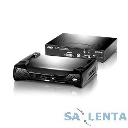 ATEN KE6900-AX-G Удлинитель, KVM USB DVI+AUDIO+RS232, 100 метр. при прямом подкл/неогранич.при подкл через swicth, 1xUTP Cat5e, DVI-I+2xUSB A-тип+ 2xMINI JACK+DB9, 5xF+M, 2 спец. шнура, 2хБ.П.220> 5V,