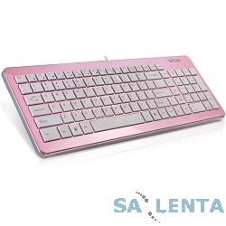 Клавиатура DELUX «DLK-1500»  Ultra-Slim, ММ, USB (розово-белая)