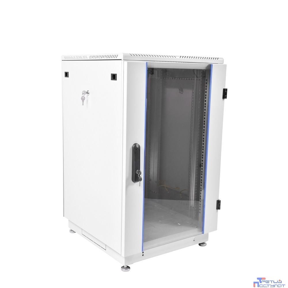ЦМО! Шкаф телеком. напольный 22U (600x600) дверь стекло (ШТК-M-22.6.6-1AAA) (2 коробки)