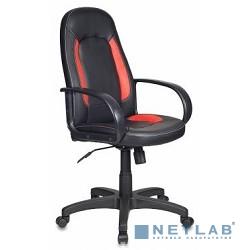 Бюрократ CH-826/B+R (Кресло руководителя, черный вставки красный искусственная кожа)