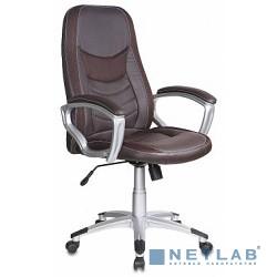 Бюрократ T-9910/BROWN Кресло руководителя (коричневый искусственная кожа крестовина пластиковая (пластик серебро)
