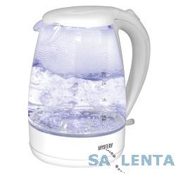 Чайник MYSTERY MEK-1626, 2200Вт, 1.7 л, стекло/белый