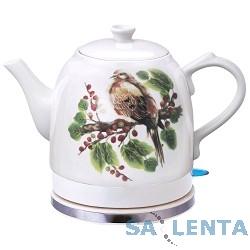 Чайник SUPRA KES-125C электрический, белый, рисунок, корпус керамика