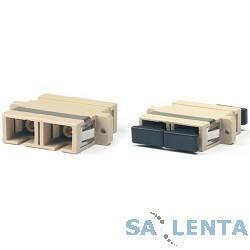 Hyperline FA-P11Z-DSC/DSC-N/BK-BG Оптический проходной адаптер SC/PC-SC/PC, MM, duplex, корпус пластиковый, бежевый, черные колпачки