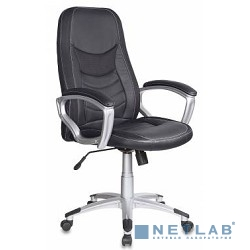 Бюрократ T-9910/Black  (Кресло руководителя черный искусственная кожа (пластик серебристый)