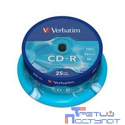 Verbatim  Диски CD-R  25 шт. 52-x 700Mb, Cake Box (43432)