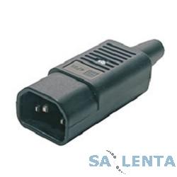 Hyperline CON-IEC320C14 Разъем IEC 60320 C14 220В 10A на кабель (плоские выступающие штыревые контакты в пластиковом обрамлении), прямой
